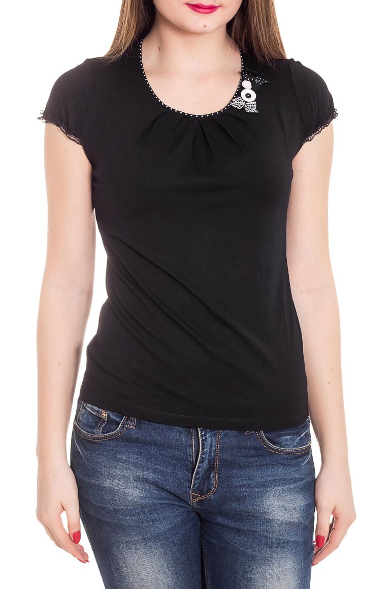 БлузкаБлузки<br>Красивая блузка с короткими рукавами. Модель выполнена из приятного материала. Отличный выбор для повседневного гардероба.  Цвет: черный  Рост девушки-фотомодели 180 см<br><br>Горловина: С- горловина<br>По материалу: Вискоза<br>По рисунку: Однотонные<br>По сезону: Весна,Зима,Лето,Осень,Всесезон<br>По силуэту: Полуприталенные<br>По стилю: Повседневный стиль<br>По элементам: С декором<br>Рукав: Короткий рукав<br>Размер : 44,46,48<br>Материал: Вискоза<br>Количество в наличии: 3