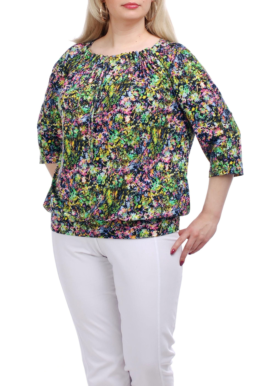 БлузкаБлузки<br>Яркая блузка свободного силуэта. Модель выполнена из приятного трикотажа с цветочным принтом. Отличный выбор для любого случая.  Цвет: зеленый, розовый, желтый, синий  Рост девушки-фотомодели 173 см.<br><br>Горловина: С- горловина<br>По материалу: Вискоза,Трикотаж<br>По рисунку: Растительные мотивы,С принтом,Цветные,Цветочные<br>По сезону: Весна,Зима,Лето,Осень,Всесезон<br>По силуэту: Свободные<br>По стилю: Повседневный стиль<br>Рукав: Рукав три четверти<br>Размер : 52,68<br>Материал: Трикотаж<br>Количество в наличии: 2