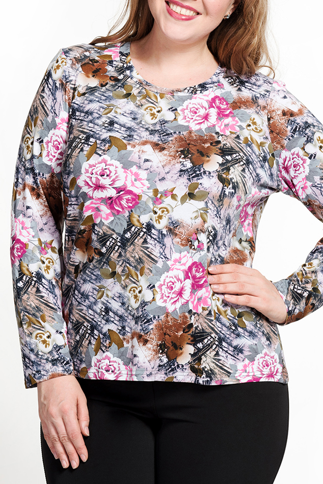 БлузкаДжемперы<br>Цветная блузка с длинными рукавами. Модель выполнена из мягкой вискозы. Отличный выбор для повседневного гардероба.   В изделии использованы цвета: серый, розовый, зеленый и др.  Ростовка изделия 170 см.<br><br>Горловина: С- горловина<br>По материалу: Вискоза<br>По рисунку: Растительные мотивы,С принтом,Цветные,Цветочные<br>По силуэту: Прямые<br>По стилю: Повседневный стиль<br>Рукав: Длинный рукав<br>По сезону: Осень,Весна<br>Размер : 56,58,60,62,64<br>Материал: Вискоза<br>Количество в наличии: 5