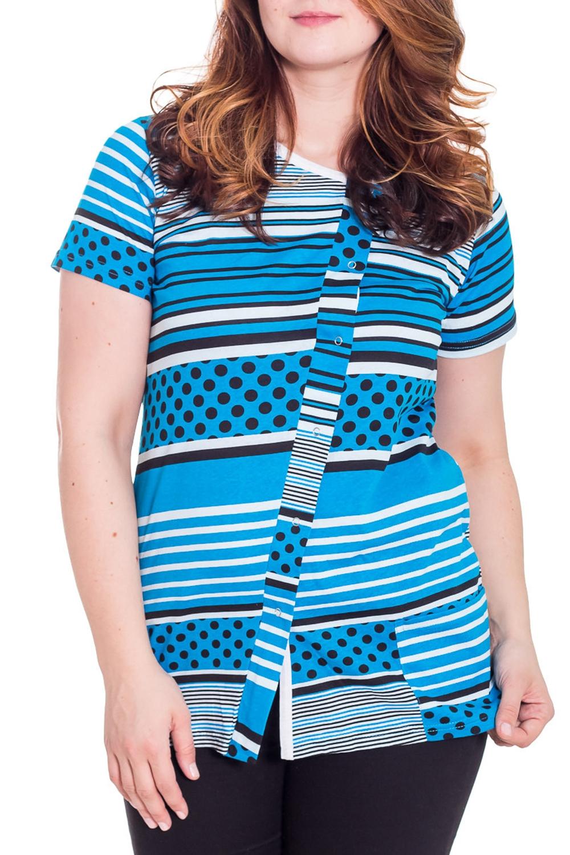 ТуникаТуники<br>Домашняя туника с короткими рукавами. Домашняя одежда, прежде всего, должна быть удобной, практичной и красивой. В тунике Вы будете чувствовать себя комфортно, особенно, по вечерам после трудового дня.  Цвет: голубой, черный, белый  Рост девушки-фотомодели 180 см.<br><br>Горловина: С- горловина<br>По длине: Удлиненные<br>По рисунку: В горошек,В полоску,Цветные,С принтом<br>По сезону: Весна,Осень<br>По силуэту: Полуприталенные<br>Рукав: Короткий рукав<br>По материалу: Трикотаж,Хлопок<br>Размер : 50<br>Материал: Хлопок<br>Количество в наличии: 1