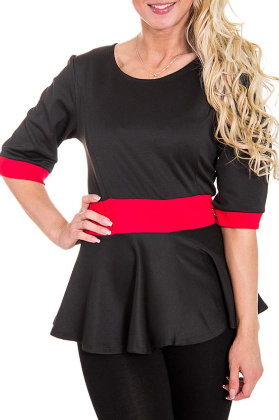 БлузкаБлузки<br>Женская блузка с круглой горловиной и рукавами до локтя. Модель выполнена из приятного трикотажа. Отличный выбор для повседневного и делового гардероба.  Цвет: черный, красный  Рост девушки-фотомодели 170 см<br><br>Горловина: С- горловина<br>По материалу: Трикотаж<br>По рисунку: Цветные<br>По сезону: Весна,Всесезон,Зима,Лето,Осень<br>По стилю: Повседневный стиль<br>По элементам: С баской,С манжетами<br>Рукав: Рукав три четверти<br>По силуэту: Приталенные<br>Размер : 46<br>Материал: Джерси<br>Количество в наличии: 1