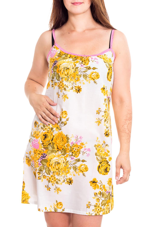 ТуникаТуники<br>Яркая хлопковая туника. Домашняя одежда, прежде всего, должна быть удобной, практичной и красивой. В нашей домашней одежде Вы будете чувствовать себя комфортно, особенно, по вечерам после трудового дня.  В изделии использованы цвета: белый, желтый, розовый<br><br>Горловина: С- горловина<br>По длине: Удлиненные<br>По материалу: Хлопковые<br>По рисунку: Растительные мотивы,С принтом (печатью),Цветные,Цветочные<br>По сезону: Весна,Зима,Лето,Осень,Всесезон<br>По силуэту: Полуприталенные<br>По стилю: Повседневные<br>По элементам: Без рукавов,С открытой спиной<br>Размер : 46,48,50,52<br>Материал: Хлопок<br>Количество в наличии: 6