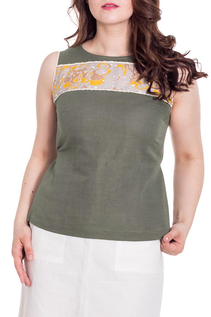 БлузкаБлузки<br>Классическая женская блузка без рукавов - это универсальный предмет одежды, в котором можно пойти как на работу, так и на свидание.  Цвет: зеленовато-серый  Рост девушки-фотомодели 180 см<br><br>Горловина: С- горловина<br>По материалу: Лен<br>По образу: Город<br>По рисунку: Однотонные<br>По сезону: Весна,Зима,Лето,Осень,Всесезон<br>По силуэту: Полуприталенные<br>По стилю: Повседневный стиль<br>По элементам: С декором<br>Рукав: Без рукавов<br>Размер : 48<br>Материал: Лен<br>Количество в наличии: 1
