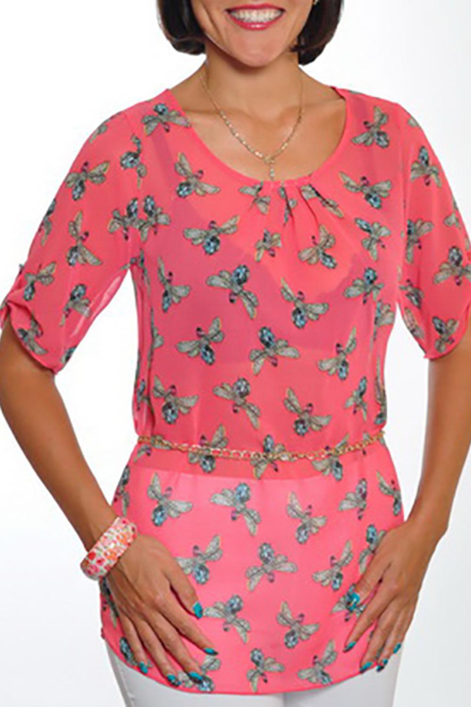 БлузкаБлузки<br>Чудесная блузка с круглой горловиной и рукавами до локтя. Модель выполнена из воздушного шифона. Отличный выбор для повседневного гардероба. Блузка без пояса.  Цвет: коралловый, голубой, белый  Ростовка изделия 170 см.<br><br>Горловина: С- горловина<br>По материалу: Шифон<br>По рисунку: Животные мотивы,С принтом,Цветные,Бабочки<br>По сезону: Весна,Зима,Лето,Осень,Всесезон<br>По силуэту: Полуприталенные<br>По стилю: Повседневный стиль,Романтический стиль,Летний стиль<br>По элементам: С патами<br>Рукав: До локтя<br>Размер : 46<br>Материал: Шифон<br>Количество в наличии: 1