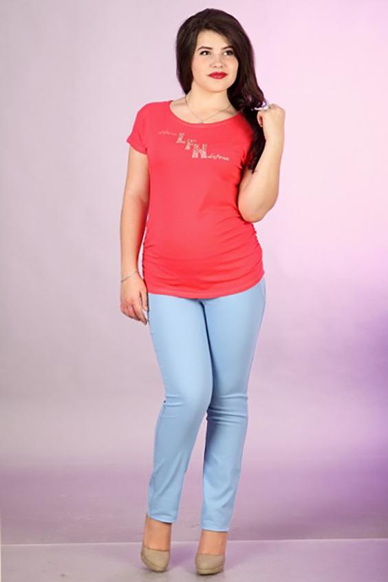 ФутболкаФутболки<br>Женская футболка с круглой горловиной и короткими рукавами. Модель выполнена из мягкой вискозы. Отличный выбор для базового гардероба.  За счет свободного кроя и эластичного материала изделие можно носить во время беременности  Цвет: коралловый<br><br>Горловина: С- горловина<br>По материалу: Вискоза,Трикотаж<br>По рисунку: Однотонные,С принтом<br>По сезону: Весна,Всесезон,Зима,Лето,Осень<br>По силуэту: Свободные<br>По элементам: С декором<br>Рукав: Короткий рукав<br>По стилю: Молодежный стиль,Повседневный стиль,Летний стиль<br>Размер : 50<br>Материал: Вискоза<br>Количество в наличии: 1