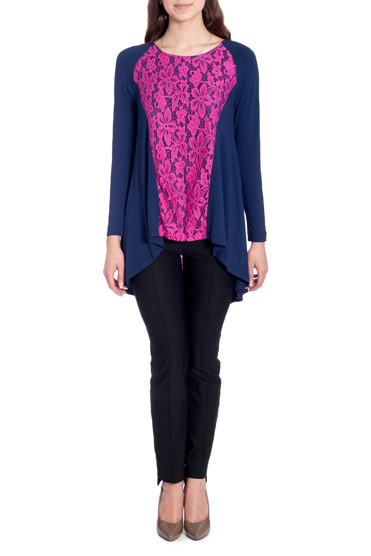 БлузкаБлузки<br>Нарядная блузка с контрастной гипюровой вставкой. Модель выполнена из приятного материала. Отличный выбор для любого случая.  В изделии использованы цвета: синий, розовый  Рост девушки-фотомодели 170 см<br><br>Горловина: С- горловина<br>По материалу: Вискоза,Гипюр,Трикотаж<br>По рисунку: Цветные<br>По сезону: Весна,Зима,Лето,Осень,Всесезон<br>По силуэту: Свободные<br>По стилю: Нарядный стиль,Повседневный стиль<br>Рукав: Длинный рукав<br>Размер : 42,44,46,48,50<br>Материал: Трикотаж + Гипюр<br>Количество в наличии: 8