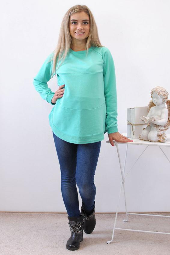 СвитшотКофты для будущих мам<br>Свитшоты – вот что действительно модно Очень красивая модель с ярким цветом бирюза и необычным кроем плеча станет любимой вещью в вашем гардеробе. Свитшот можно носить на любом сроке беременности и после родов.  В изделии использованы цвета: бирюзовый  Параметры для 42 размера:  Длина изделия по спинке 64 см Длина рукава 75 см  Ростовка изделия 170 см<br><br>Горловина: С- горловина<br>По длине: Средней длины<br>По материалу: Трикотаж<br>По рисунку: Однотонные<br>По сезону: Осень,Зима<br>По силуэту: Свободные<br>По стилю: Повседневный стиль,Спортивный стиль<br>По форме: Джемперы,Толстовки<br>По элементам: С манжетами<br>Рукав: Длинный рукав<br>Размер : 46<br>Материал: Трикотаж<br>Количество в наличии: 1