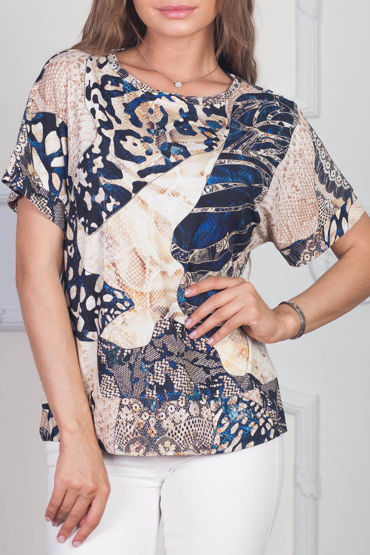 БлузаБлузки<br>Повседневные очаровательные блузки идеально подходят как для романтичных встреч, так и для походов в кафе с Вашими подругами. Изделие выполнено из струящегося материала, который прекрасно садится по любой фигуре. Изделие с округлым вырезом горловины и короткими рукавами.  В изделии использованы цвета: бежевый, синий и др.  Рост девушки-фотомодели 170 см<br><br>Горловина: С- горловина<br>По материалу: Блузочная ткань<br>По рисунку: Животные мотивы,Рептилия,С принтом,Цветные<br>По сезону: Весна,Зима,Лето,Осень,Всесезон<br>По силуэту: Прямые<br>По стилю: Кэжуал,Летний стиль,Повседневный стиль<br>По элементам: С декором,С манжетами<br>Рукав: Короткий рукав<br>Размер : 42,44,46,52,54<br>Материал: Вискоза<br>Количество в наличии: 5