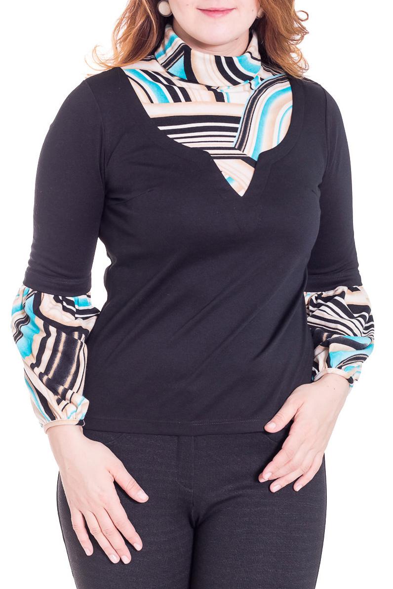 БлузкаБлузки<br>Интересная блузка с длинными рукавами из приятного трикотажа. Отличный выбор для повседневного гардероба.  Цвет: черный, белый, бежевый, голубой  Рост девушки-фотомодели 180 см.<br><br>Воротник: Стойка<br>По материалу: Вискоза,Трикотаж<br>По сезону: Весна,Осень,Всесезон<br>По силуэту: Полуприталенные<br>По стилю: Повседневный стиль<br>Рукав: Длинный рукав<br>По рисунку: С принтом,Цветные<br>Размер : 48,50<br>Материал: Трикотаж<br>Количество в наличии: 3