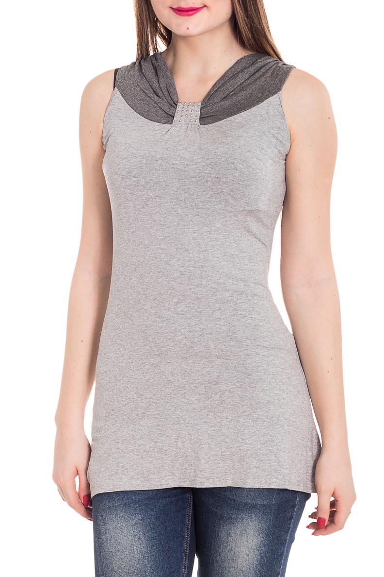 БлузкаБлузки<br>Удлиненная блузка без рукавов. Модель выполнена из мягкой вискозы. Отличный выбор для повседневного гардероба.  Цвет: серый  Рост девушки-фотомодели 180 см<br><br>По материалу: Вискоза<br>По образу: Город,Свидание<br>По рисунку: Однотонные<br>По сезону: Весна,Зима,Лето,Осень,Всесезон<br>По силуэту: Полуприталенные<br>По стилю: Повседневный стиль<br>По элементам: С декором,С отделочной фурнитурой<br>Рукав: Без рукавов<br>Размер : 44,48<br>Материал: Вискоза<br>Количество в наличии: 2