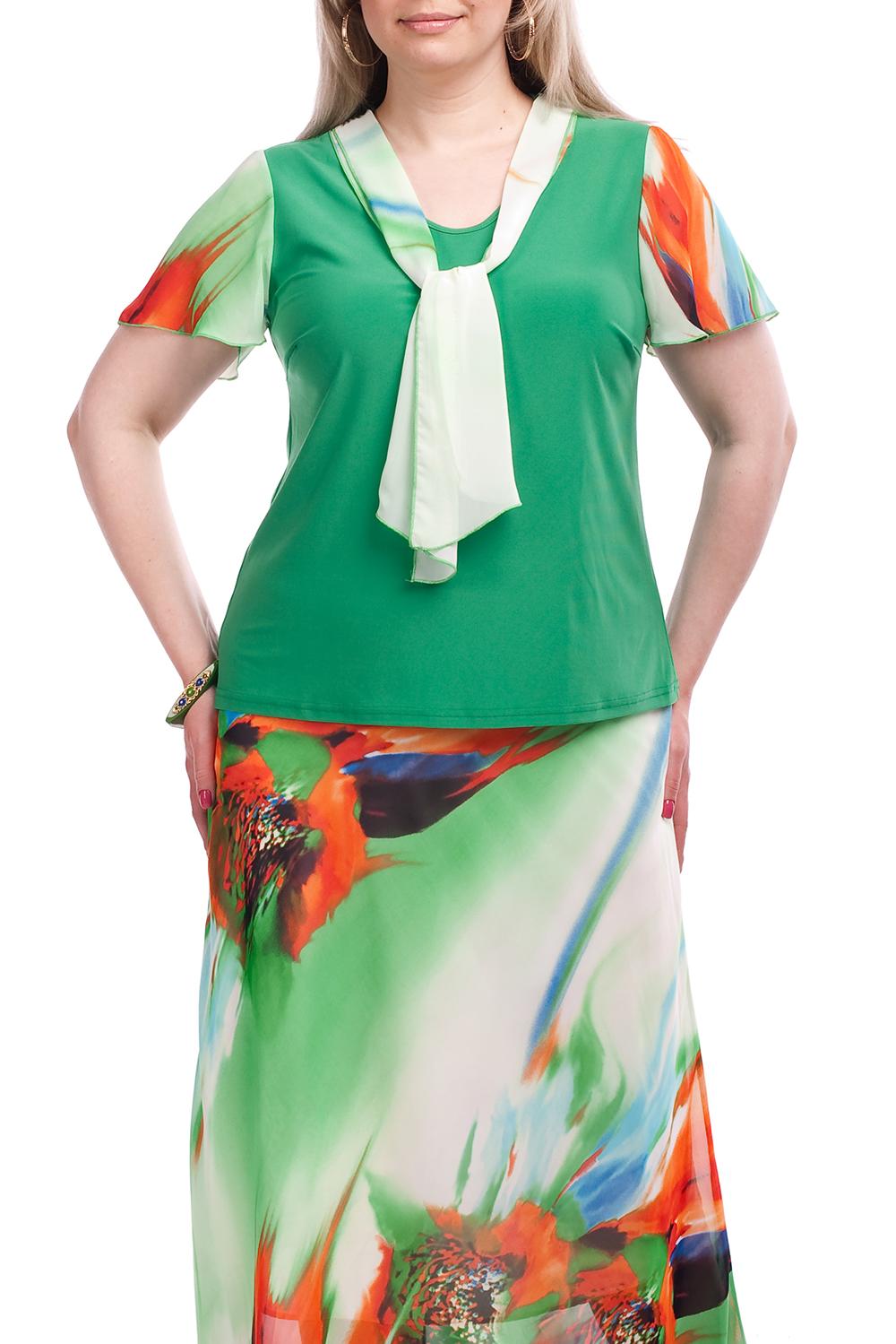 БлузкаБлузки<br>Цветная блузка с короткими рукавами и декоративным шарфиком. Модель выполнена из приятного материала. Отличный выбор для любого случая. Отлично смотрится с юбкой U(39)-SPL (для просмотра модели введите артикул в строку поиска)  Цвет: зеленый, оранжевый, белый  Рост девушки-фотомодели 173 см.<br><br>Горловина: С- горловина<br>По материалу: Вискоза,Трикотаж<br>По образу: Город,Свидание<br>По рисунку: С принтом,Цветные<br>По сезону: Весна,Зима,Лето,Осень,Всесезон<br>По силуэту: Полуприталенные<br>По стилю: Повседневный стиль<br>По элементам: С декором<br>Рукав: Короткий рукав<br>Размер : 54,56,58,60,62,64,66,68,70<br>Материал: Вискоза<br>Количество в наличии: 15