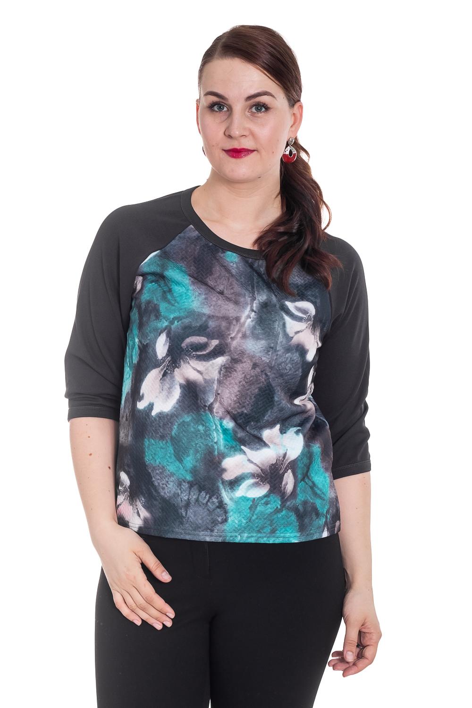 ДжемперДжемперы<br>Красивый джемпер с рукавами 3/4 и круглой горловиной. Модель выполнена из приятного трикотажа с цветочным принтом. Отличный выбор для повседневного гардероба.  Цвет: черный, серый, бирюзовый, белый  Рост девушки-фотомодели 180 см.<br><br>По образу: Город,Свидание<br>По стилю: Повседневный стиль<br>По материалу: Трикотаж<br>По рисунку: С принтом,Цветные,Цветочные,Растительные мотивы<br>По сезону: Осень,Весна<br>По силуэту: Полуприталенные<br>Рукав: Рукав три четверти<br>Горловина: С- горловина<br>Размер: 50-52,54-56<br>Материал: 100% полиэстер<br>Количество в наличии: 1