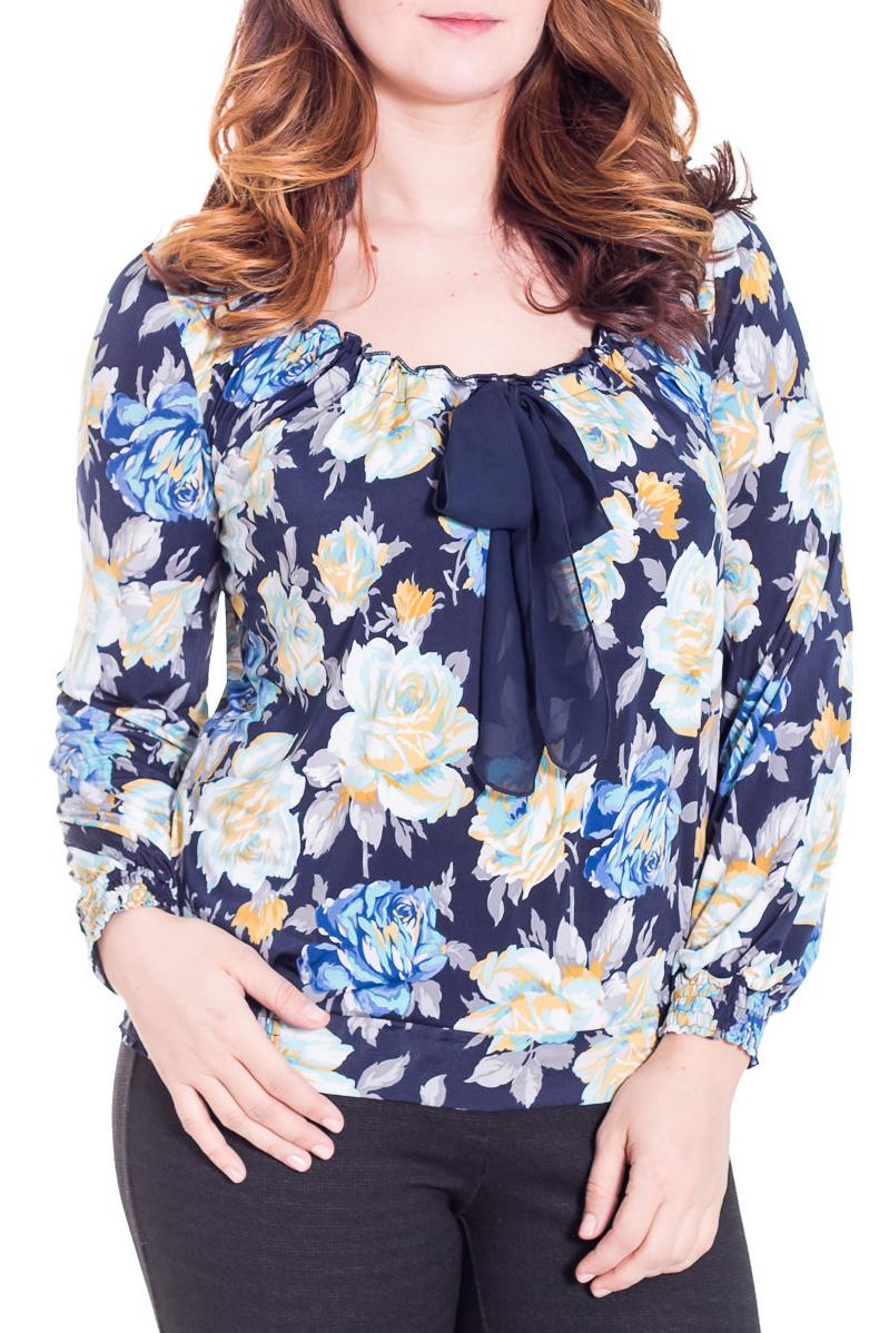 БлузкаБлузки<br>Красивая блузка с длинными рукавами из приятного трикотажа. Отличный выбор для повседневного гардероба.  Цвет: синий, голубой, белый, желтый  Рост девушки-фотомодели 180 см.<br><br>Горловина: С- горловина<br>Застежка: С завязками<br>По материалу: Вискоза,Трикотаж,Шифон<br>По образу: Город,Свидание<br>По рисунку: Растительные мотивы,Цветные,Цветочные,С принтом<br>По сезону: Весна,Всесезон,Зима,Лето,Осень<br>По силуэту: Свободные<br>По стилю: Повседневный стиль,Нарядный стиль<br>Рукав: Длинный рукав<br>Размер : 48,56<br>Материал: Холодное масло + Шифон<br>Количество в наличии: 5