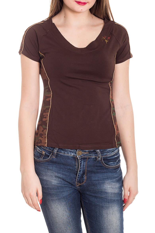 ФутболкаФутболки<br>Универсальная футболка с короткими рукавами. Модель выполнена из приятного материала. Отличный выбор для повседневного гардероба.  Цвет: коричневый, мультицвет  Рост девушки-фотомодели 180 см<br><br>По образу: Город<br>По стилю: Повседневный стиль<br>По рисунку: Однотонные,С принтом,Цветные<br>По сезону: Весна,Зима,Лето,Всесезон,Осень<br>По силуэту: Приталенные<br>Рукав: Короткий рукав<br>Горловина: С- горловина<br>Размер: 44,46<br>Материал: 90% вискоза 10% лайкра<br>Количество в наличии: 2