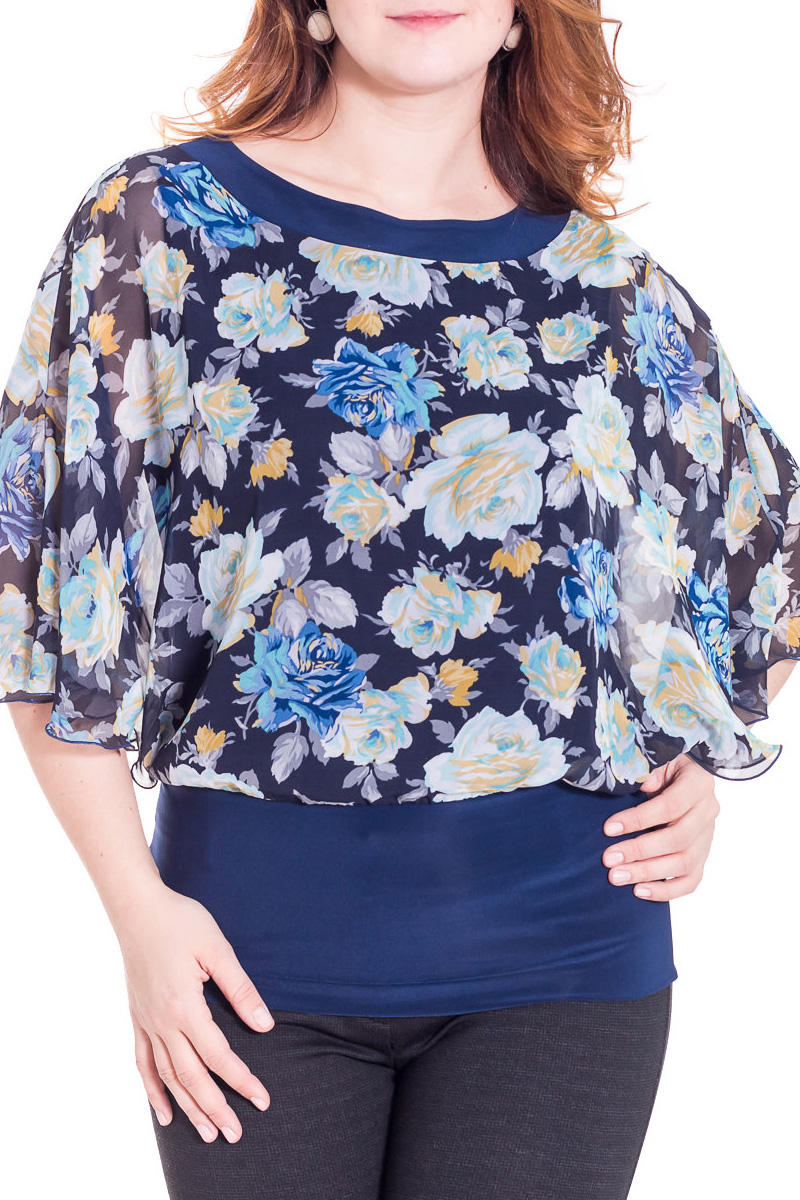 БлузкаБлузки<br>Красивая блузка с имитацией накидки. Отличный выбор для повседневного гардероба.  Цвет: синий, голубой, белый, желтый  Рост девушки-фотомодели 180 см.<br><br>Горловина: С- горловина<br>По материалу: Вискоза,Трикотаж,Шифон<br>По образу: Город,Свидание<br>По рисунку: Растительные мотивы,Цветные,Цветочные,С принтом<br>По сезону: Весна,Всесезон,Зима,Лето,Осень<br>По силуэту: Свободные<br>По стилю: Нарядный стиль,Повседневный стиль<br>Рукав: Рукав три четверти<br>Размер : 48,50,52,56,58<br>Материал: Холодное масло + Шифон<br>Количество в наличии: 9