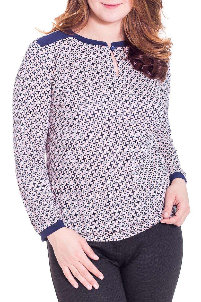 БлузкаБлузки<br>Красивая блузка с длинными рукавами из приятного трикотажа. Отличный выбор для повседневного гардероба.  Цвет: розовый, синий  Рост девушки-фотомодели 180 см.<br><br>Горловина: С- горловина<br>Застежка: С пуговицами<br>По материалу: Вискоза,Трикотаж<br>По рисунку: Абстракция,Цветные<br>По сезону: Весна,Всесезон,Зима,Лето,Осень<br>По силуэту: Свободные<br>По стилю: Повседневный стиль<br>Рукав: Длинный рукав<br>Размер : 46,48,50,52,56<br>Материал: Холодное масло<br>Количество в наличии: 6