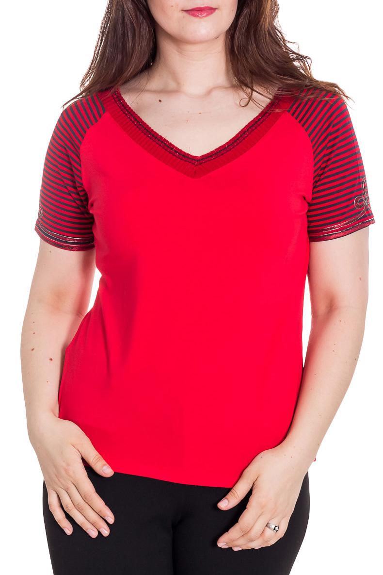 БлузкаБлузки<br>Красивая блузка с короткими рукавами. Модель выполнена из приятного материала. Отличный выбор для повседневного гардероба.  Цвет: красный, черный  Рост девушки-фотомодели 180 см<br><br>Горловина: V- горловина<br>По материалу: Вискоза<br>По образу: Город<br>По рисунку: В полоску,С принтом,Цветные<br>По сезону: Весна,Зима,Лето,Осень,Всесезон<br>По силуэту: Полуприталенные<br>По стилю: Повседневный стиль<br>Рукав: Короткий рукав<br>Размер : 52<br>Материал: Вискоза<br>Количество в наличии: 2