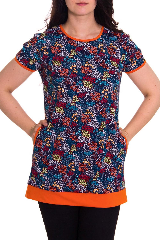 ТуникаТуники<br>Женская домашняя туника с короткими рукавами. Домашняя одежда, прежде всего, должна быть удобной, практичной и красивой. В тунике Вы будете чувствовать себя комфортно, особенно, по вечерам после трудового дня.  Цвет: серый, оранжевый, голубой  Рост девушки-фотомодели 180 см.<br><br>Горловина: С- горловина<br>По рисунку: Цветные,С принтом<br>По сезону: Весна,Осень<br>По силуэту: Полуприталенные<br>Рукав: Короткий рукав<br>По элементам: С карманами<br>По материалу: Хлопок<br>Размер : 42,50<br>Материал: Хлопок<br>Количество в наличии: 2