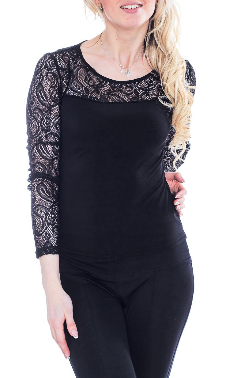 БлузкаБлузки<br>Красивая блузка с круглой горловиной и длинными рукавами. Модель выполнена из ажурного гипюра и трикотажа. Отличный выбор для повседневного образа.  Цвет: черный  Рост девушки-фотомодели 170 см.<br><br>Горловина: С- горловина<br>По материалу: Гипюр,Трикотаж<br>По образу: Город,Свидание<br>По рисунку: Однотонные<br>По сезону: Весна,Зима,Лето,Осень,Всесезон<br>По силуэту: Полуприталенные<br>По стилю: Нарядный стиль,Повседневный стиль<br>Рукав: Длинный рукав<br>Размер : 44-46<br>Материал: Холодное масло + Гипюр<br>Количество в наличии: 2