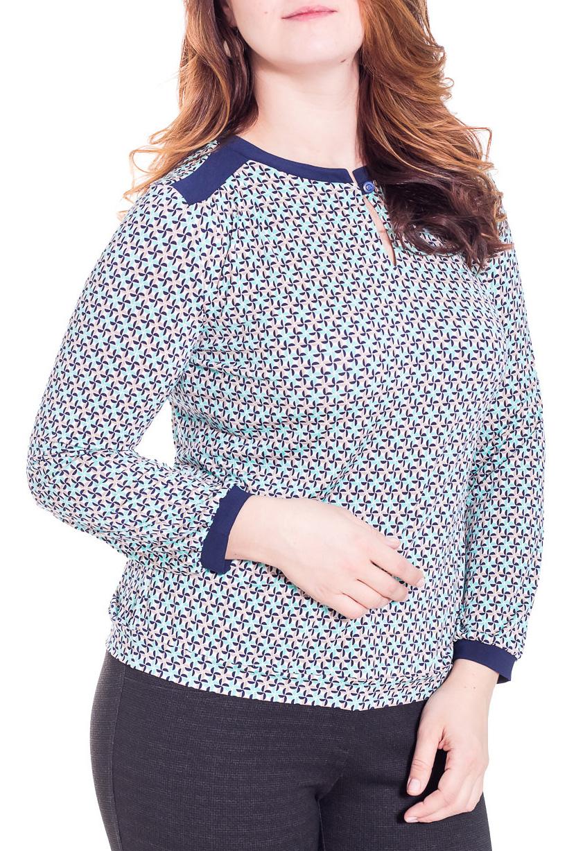 БлузкаБлузки<br>Красивая блузка с длинными рукавами из приятного трикотажа. Отличный выбор для повседневного гардероба.  Цвет: голубой, синий  Рост девушки-фотомодели 180 см.<br><br>Горловина: С- горловина<br>Застежка: С пуговицами<br>По материалу: Вискоза,Трикотаж<br>По рисунку: Абстракция,Цветные<br>По сезону: Весна,Всесезон,Зима,Лето,Осень<br>По силуэту: Свободные<br>По стилю: Повседневный стиль<br>Рукав: Длинный рукав<br>Размер : 46,48,50,52,54<br>Материал: Холодное масло<br>Количество в наличии: 5