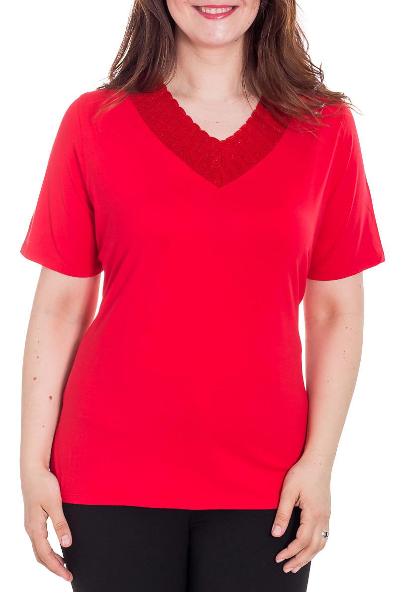 БлузкаБлузки<br>Красивая блузка с короткими рукавами. Модель выполнена из приятного материала. Отличный выбор для повседневного гардероба.  Цвет: красный  Рост девушки-фотомодели 180 см<br><br>Горловина: V- горловина<br>По материалу: Вискоза<br>По образу: Город<br>По рисунку: Однотонные<br>По сезону: Весна,Зима,Лето,Осень,Всесезон<br>По силуэту: Полуприталенные<br>По стилю: Повседневный стиль<br>Рукав: Короткий рукав<br>Размер : 52<br>Материал: Вискоза<br>Количество в наличии: 1