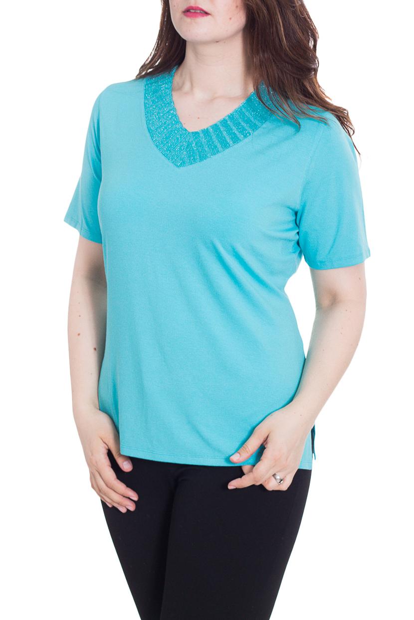 БлузкаБлузки<br>Красивая блузка с короткими рукавами. Модель выполнена из приятного материала. Отличный выбор для повседневного гардероба.  Цвет: голубой  Рост девушки-фотомодели 180 см<br><br>Горловина: V- горловина<br>По материалу: Вискоза<br>По рисунку: Однотонные<br>По сезону: Весна,Зима,Лето,Осень,Всесезон<br>По силуэту: Полуприталенные<br>По стилю: Повседневный стиль<br>Рукав: Короткий рукав<br>Размер : 52<br>Материал: Вискоза<br>Количество в наличии: 1