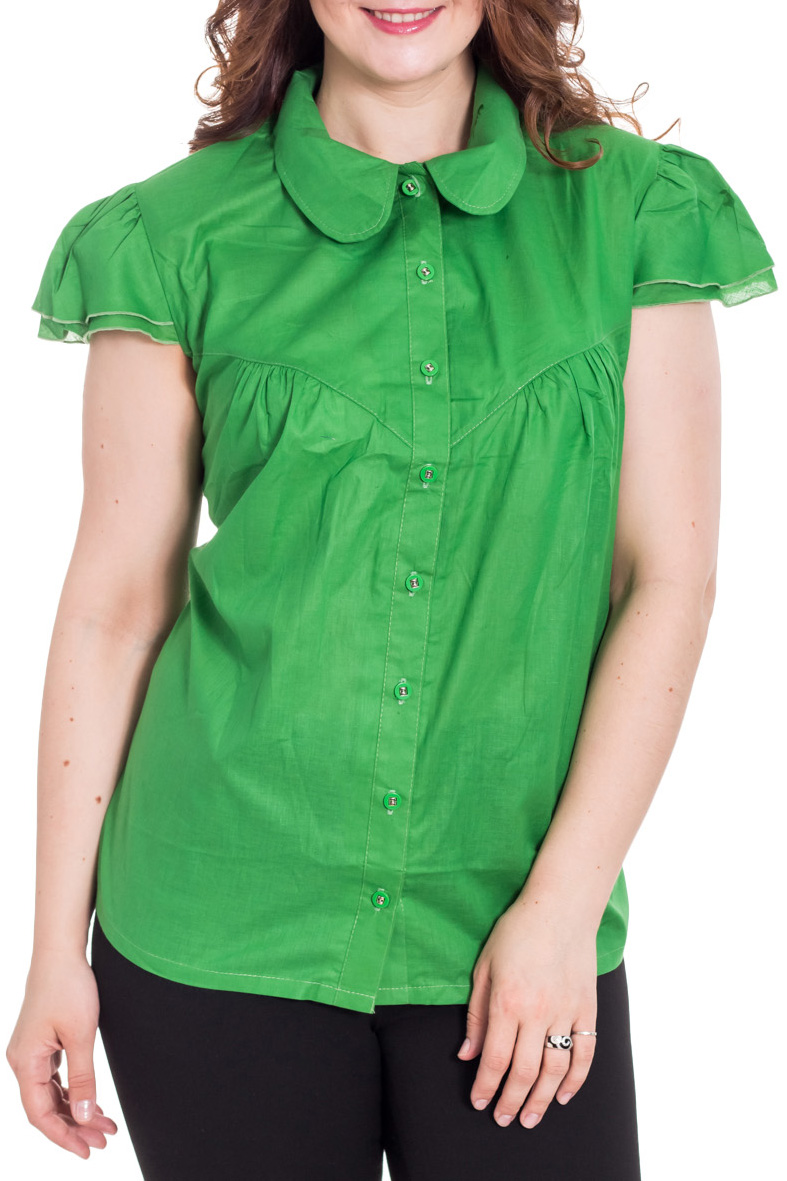 БлузкаБлузки<br>Однотонная блузка с легкими двойными крылышками. По груди кокетка со сборочками. Передняя планка на пуговицах.  Цвет: зеленый  Рост девушки-фотомодели 180 см<br><br>Воротник: Отложной<br>Застежка: С пуговицами<br>По материалу: Хлопок,Блузочная ткань,Тканевые<br>По рисунку: Однотонные<br>По сезону: Весна,Зима,Лето,Осень,Всесезон<br>По силуэту: Полуприталенные<br>По стилю: Повседневный стиль<br>По элементам: С воланами и рюшами<br>Рукав: Короткий рукав<br>Размер : 62,66<br>Материал: Блузочная ткань<br>Количество в наличии: 4
