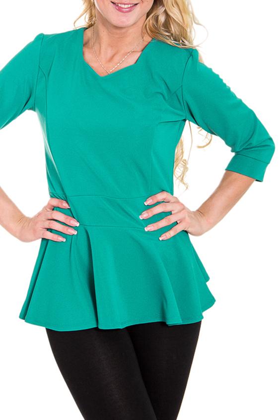 БлузкаБлузки<br>Женская блузка с фигурной горловиной и рукавами до локтя. Модель выполнена из приятного трикотажа. Отличный выбор для повседневного и делового гардероба.  Цвет: зеленый  Рост девушки-фотомодели 170 см<br><br>По материалу: Трикотаж<br>По рисунку: Однотонные<br>По сезону: Весна,Всесезон,Зима,Лето,Осень<br>По силуэту: Полуприталенные<br>По стилю: Повседневный стиль<br>По элементам: С баской<br>Рукав: Рукав три четверти<br>Горловина: Фигурная горловина<br>Размер : 46<br>Материал: Джерси<br>Количество в наличии: 1