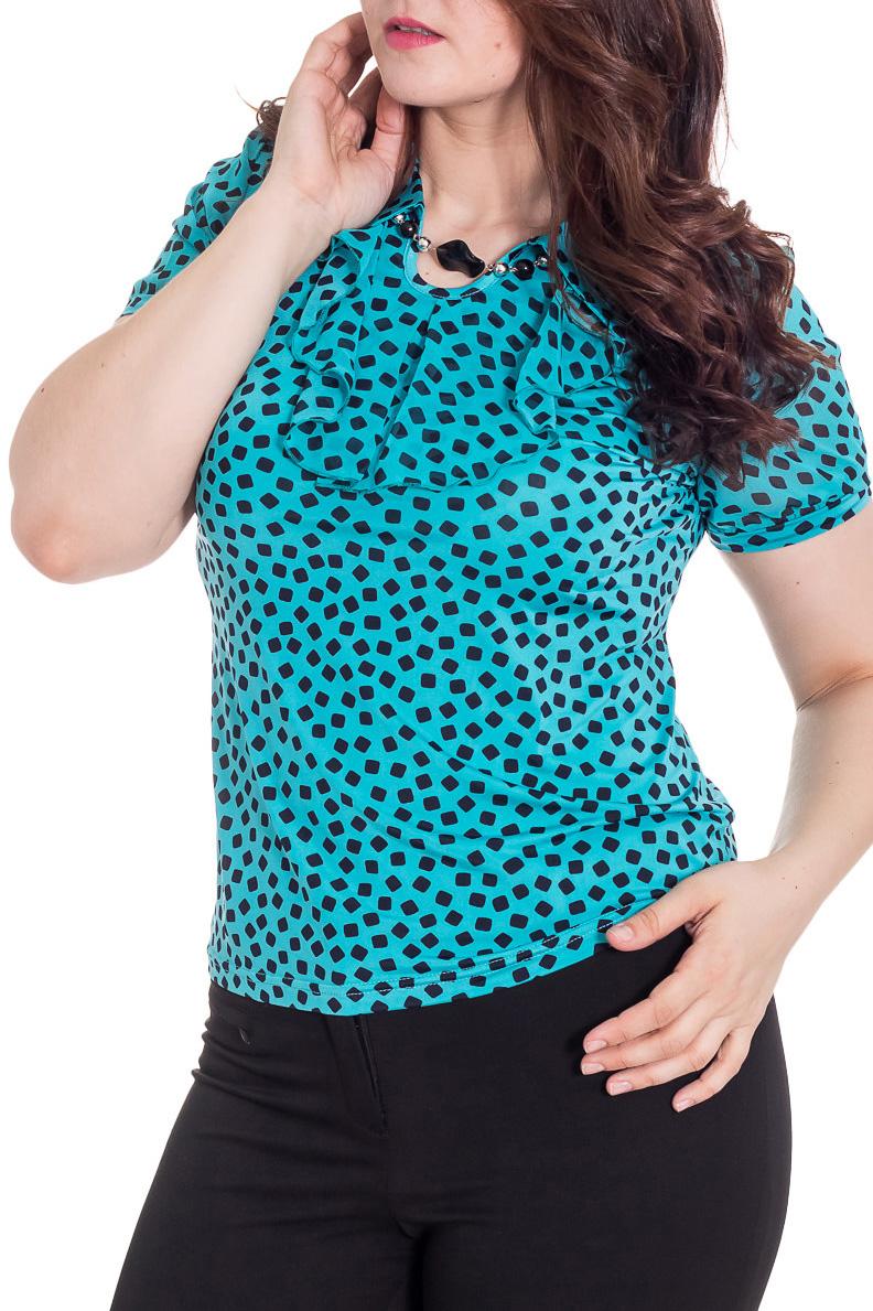 БлузкаБлузки<br>Повседневные блузки идеально подходят как для романтичных встреч, так и для походов в кафе с Вашими подругами. Изделие украшено имитацией бус по головине.  Цвет: голубовато-бирюзовый, черный.  Рост девушки-фотомодели 180 см<br><br>По материалу: Вискоза,Трикотаж,Шифон<br>По рисунку: В горошек,Цветные,Геометрия,С принтом<br>По сезону: Весна,Зима,Лето,Осень,Всесезон<br>По силуэту: Приталенные<br>По стилю: Повседневный стиль,Летний стиль<br>По элементам: С декором<br>Рукав: Короткий рукав<br>Воротник: Отложной<br>Размер : 50,52,58,60<br>Материал: Холодное масло + Шифон<br>Количество в наличии: 6