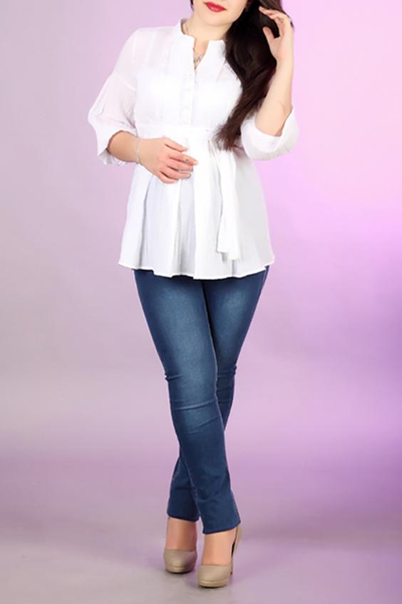 БлузаБлузки<br>Удлиненная женская блузка с рукавами 3/4. Модель выполнена из хлопковой ткани. Отличный выбор для повседневного гардероба.  За счет свободного кроя и эластичного материала изделие можно носить во время беременности  Цвет: белый  Ростовка изделия 170 см.<br><br>Горловина: V- горловина<br>По материалу: Хлопок<br>По рисунку: Однотонные<br>По сезону: Весна,Зима,Лето,Осень,Всесезон<br>По силуэту: Приталенные<br>По стилю: Офисный стиль,Повседневный стиль<br>Рукав: Рукав три четверти<br>Размер : 42,44,50<br>Материал: Хлопок<br>Количество в наличии: 5