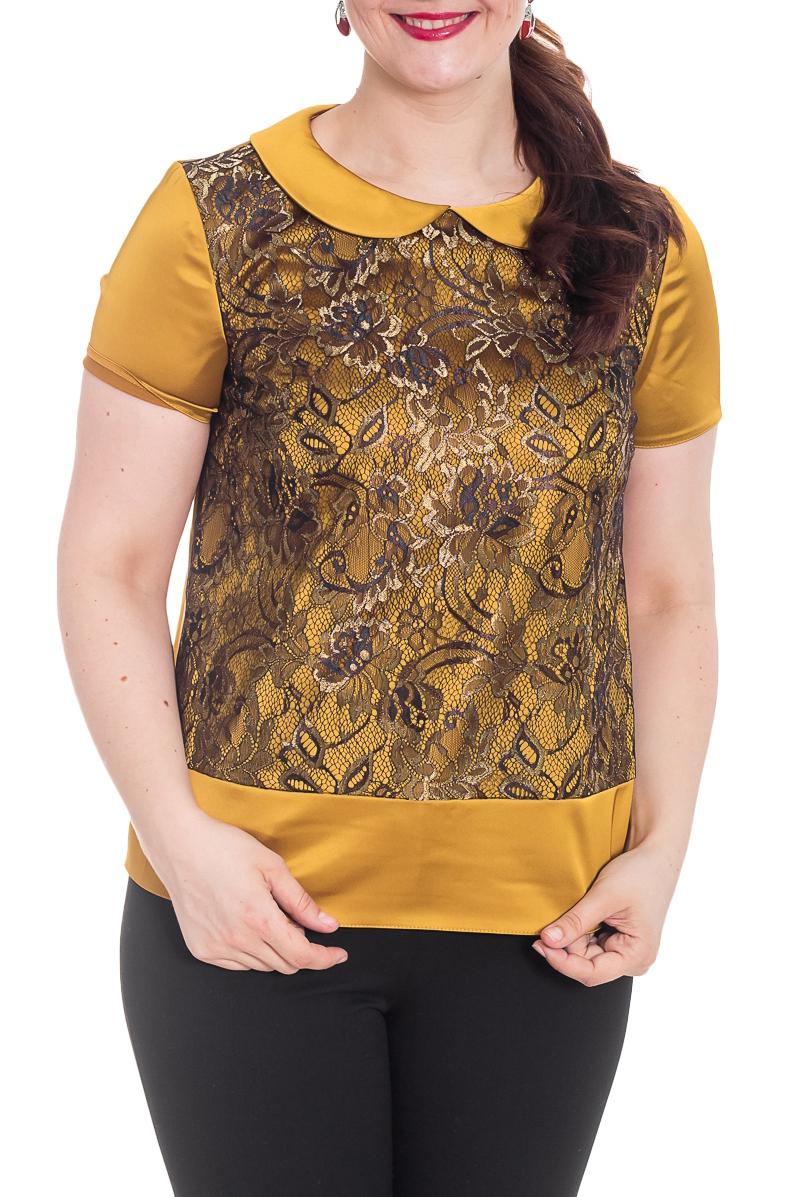 БлузкаБлузки<br>Великолепная блузка с короткими рукавами. Модель выполнена из гладкого атласа и гипюра. Отличный выбор для любого случая. Ростовка изделия 164 см.  Цвет: горчичный, черный  Рост девушки-фотомодели 180 см.<br><br>Воротник: Отложной<br>Горловина: С- горловина<br>По материалу: Атлас,Гипюр<br>По рисунку: Цветные<br>По сезону: Весна,Зима,Лето,Осень,Всесезон<br>По силуэту: Прямые<br>По стилю: Нарядный стиль,Повседневный стиль,Летний стиль<br>Рукав: Короткий рукав<br>Размер : 46,48,50,52,54<br>Материал: Атлас + Гипюр<br>Количество в наличии: 5