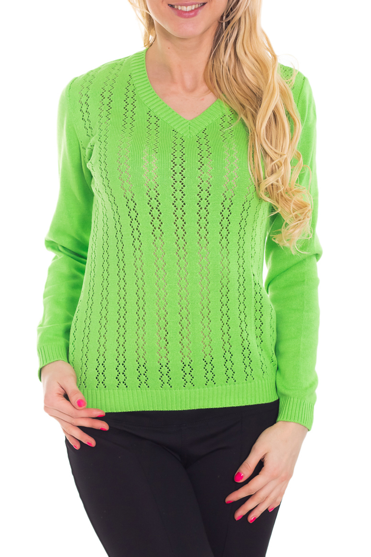 ПуловерДжемперы<br>Яркий пуловер с длинными рукавами. Вязаный трикотаж - это красота, тепло и комфорт. В вязанной одежде очень легко оставаться женственной и в то же время не замёрзнуть.  Цвет: салатовый  Рост девушки-фотомодели 170 см<br><br>Горловина: V- горловина<br>По материалу: Вязаные<br>По рисунку: Однотонные<br>По силуэту: Приталенные<br>По стилю: Повседневный стиль<br>Рукав: Длинный рукав<br>По сезону: Осень,Весна<br>Размер : 44<br>Материал: Вязаное полотно<br>Количество в наличии: 1