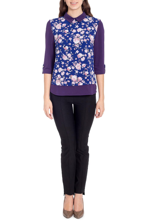 БлузкаБлузки<br>Красивая блузка прямого силуэта. Модель выполнена из приятного материала. Отличный выбор для любого случая.  В изделии использованы цвета: фиолетовый, синий, розовый и др.  Рост девушки-фотомодели 170 см<br><br>Воротник: Отложной<br>Горловина: С- горловина<br>По материалу: Вискоза,Тканевые<br>По рисунку: Растительные мотивы,С принтом,Цветные,Цветочные<br>По сезону: Весна,Зима,Лето,Осень,Всесезон<br>По силуэту: Прямые<br>По стилю: Повседневный стиль<br>По элементам: С патами<br>Рукав: Рукав три четверти<br>Размер : 44,46,48,50<br>Материал: Блузочная ткань<br>Количество в наличии: 7