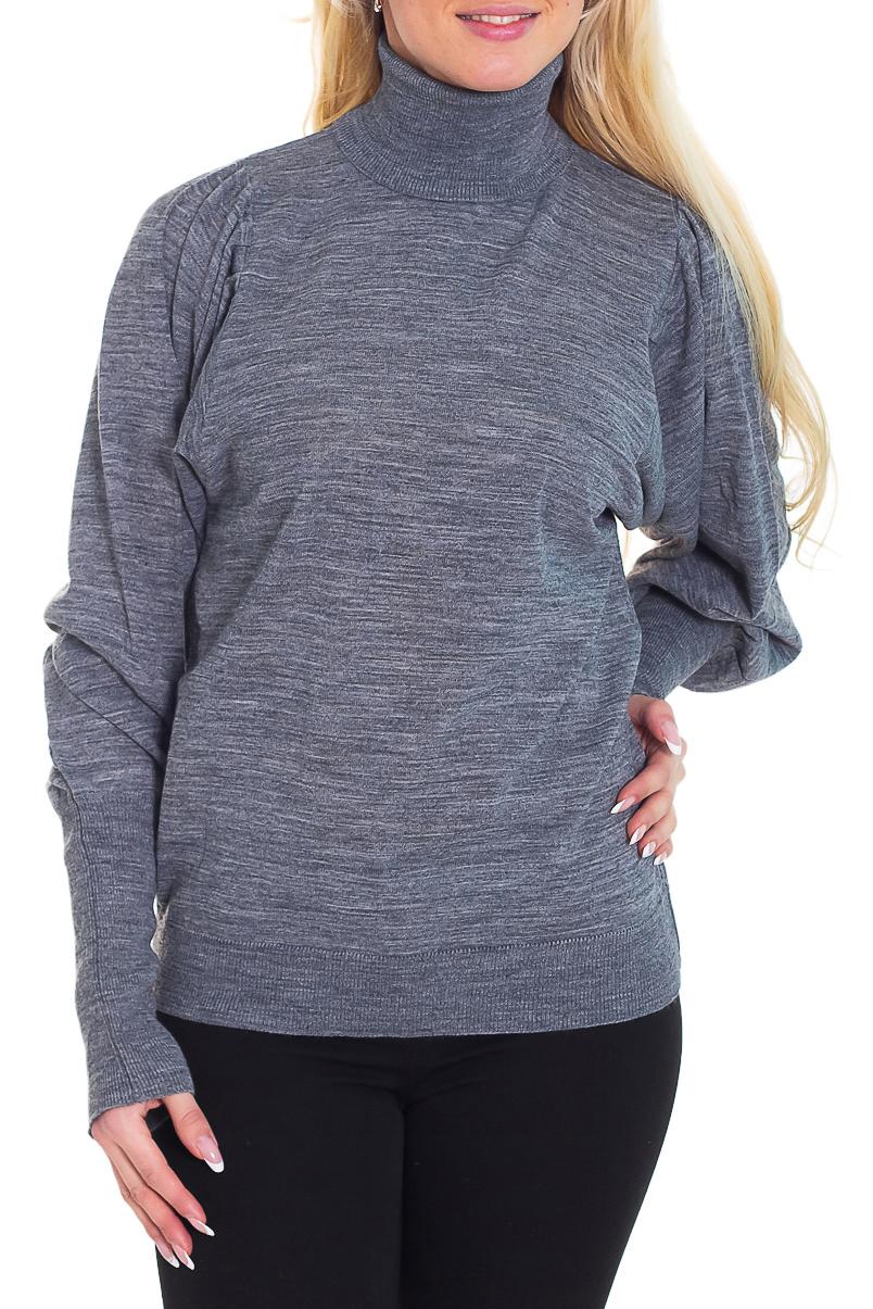 ВодолазкаВодолазки<br>Удобная водолазка свободного силуэта с длинными рукавами. Модель выполнена из приятного трикотажа. Отличный выбор для повседневного гардероба.  Цвет: серый  Рост девушки-фотомодели 170 см.<br><br>Воротник: Стойка<br>По материалу: Трикотаж,Шерсть<br>По рисунку: Однотонные<br>По силуэту: Полуприталенные<br>По стилю: Повседневный стиль<br>Рукав: Длинный рукав<br>По сезону: Зима<br>Размер : 44,46,48<br>Материал: Трикотаж<br>Количество в наличии: 3