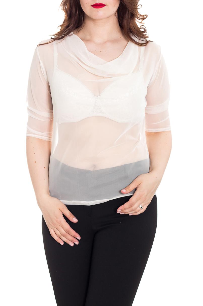 БлузкаБлузки<br>Чувственная блузка с горловиной качель и рукавами до локтя. Модель выполнена из гипюровой сетки. Отличный выбор для создания эффектного образа.  Цвет: молочный  Рост девушки-фотомодели 180 см<br><br>Горловина: Качель<br>По материалу: Гипюровая сетка<br>По рисунку: Однотонные<br>По сезону: Весна,Зима,Лето,Осень,Всесезон<br>По силуэту: Полуприталенные,Приталенные<br>Рукав: До локтя<br>По стилю: Повседневный стиль<br>Размер : 46,48,50,52,54,56,58<br>Материал: Гипюровая сетка<br>Количество в наличии: 13