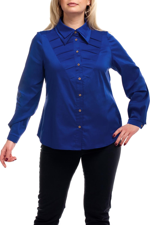 РубашкаРубашки<br>Однотонная рубашка с длинными рукавами. Модель выполнена из хлопкового материала насыщенного синего цвета. Отличный выбор для любого случая.  Цвет: синий  Рост девушки-фотомодели 173 см.<br><br>Воротник: Рубашечный<br>Застежка: С пуговицами<br>По материалу: Хлопок<br>По образу: Город,Офис,Свидание<br>По рисунку: Однотонные<br>По сезону: Весна,Зима,Лето,Осень,Всесезон<br>По силуэту: Приталенные<br>По стилю: Повседневный стиль<br>По элементам: С декором,С манжетами<br>Рукав: Длинный рукав<br>Размер : 52,54,56,58,60,62,64,66,68,70<br>Материал: Хлопок<br>Количество в наличии: 42