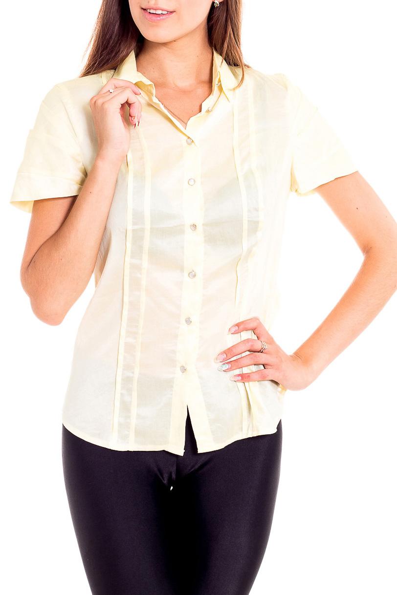 БлузкаБлузки<br>Универсальная однотонная блузка с короткими рукавами. Модель выполнена из приятного материала. Отличный выбор для любого случая.  Цвет: желтый  Рост девушки-фотомодели 170 см<br><br>Воротник: Рубашечный<br>Застежка: С пуговицами<br>По материалу: Вискоза,Тканевые<br>По образу: Город,Свидание<br>По рисунку: Однотонные<br>По сезону: Весна,Зима,Лето,Осень,Всесезон<br>По силуэту: Приталенные<br>По стилю: Повседневный стиль<br>По элементам: Со складками<br>Рукав: Короткий рукав<br>Размер : 44,52<br>Материал: Блузочная ткань<br>Количество в наличии: 2