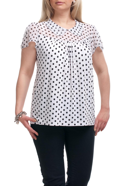 БлузкаБлузки<br>Замечательная блузка с короткими рукавами. Модель выполнена из приятного трикотажа и шифона. Отличный выбор для повседневного гардероба.  Цвет: белый, черный  Рост девушки-фотомодели 173 см.<br><br>Воротник: Отложной<br>По материалу: Трикотаж,Шифон<br>По рисунку: В горошек,С принтом,Цветные<br>По сезону: Весна,Зима,Лето,Осень,Всесезон<br>По силуэту: Прямые<br>По стилю: Повседневный стиль,Летний стиль<br>По элементам: С декором<br>Рукав: Короткий рукав<br>Размер : 68,72,74<br>Материал: Холодное масло + Шифон<br>Количество в наличии: 3