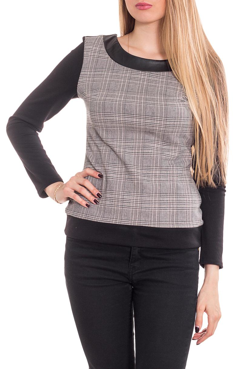 ДжемперДжемперы<br>Стильный женский джемпер с округлой горловиной и длинными рукавами. Модель станет идеальным дополнением к Вашему повседневному гардеробу.  Цвет: серый, черный.  Рост девушки-фотомодели 170 см<br><br>Горловина: С- горловина<br>По материалу: Трикотаж<br>По рисунку: Цветные,В клетку,С принтом<br>По сезону: Зима,Осень,Весна<br>По силуэту: Полуприталенные,Приталенные<br>По стилю: Офисный стиль,Повседневный стиль<br>По элементам: С кожаными вставками<br>Рукав: Длинный рукав<br>Размер : 42-44,46-48<br>Материал: Трикотаж + Искусственная кожа<br>Количество в наличии: 4