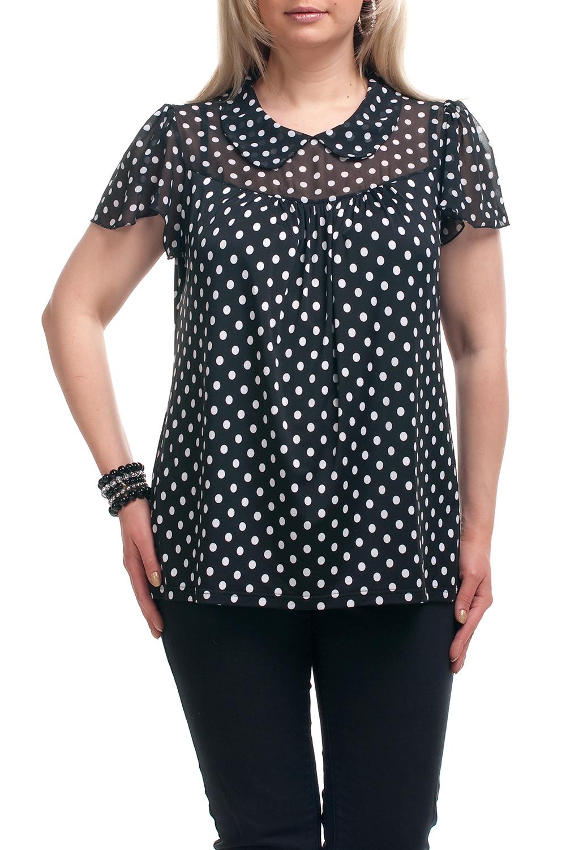 БлузкаБлузки<br>Замечательная блузка с короткими рукавами. Модель выполнена из приятного трикотажа и шифона. Отличный выбор для повседневного гардероба.  Цвет: черный, белый  Рост девушки-фотомодели 173 см.<br><br>Воротник: Отложной<br>По материалу: Трикотаж,Шифон<br>По образу: Город,Свидание<br>По рисунку: В горошек,С принтом,Цветные<br>По сезону: Весна,Зима,Лето,Осень,Всесезон<br>По силуэту: Прямые<br>По стилю: Повседневный стиль<br>По элементам: С декором<br>Рукав: Короткий рукав<br>Размер : 70,72,74<br>Материал: Холодное масло + Шифон<br>Количество в наличии: 5