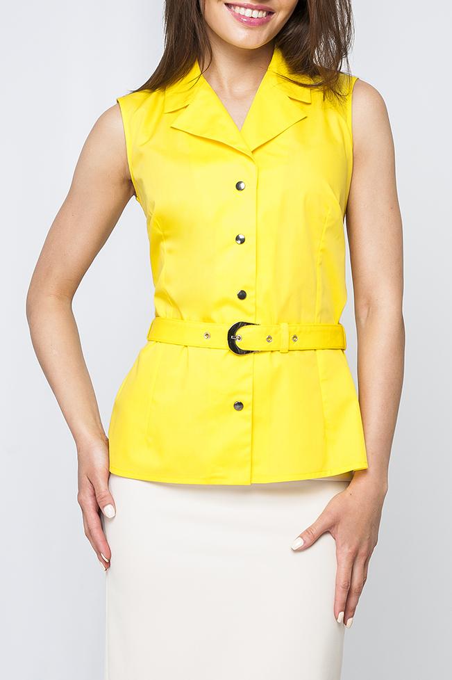 БлузкаБлузки<br>Стильная блузка без рукавов. Модель выполнена из приятного материала. Отличный выбор для любого случая. Блузка без пояса.  Параметры изделия:  42 размер: длина изделия по спинке - 61см, обхват по линии груди - 92см;  46 размер: длина изделия по спинке - 62см, обхват по линии груди - 96см  Цвет: желтый  Рост девушки-фотомодели 170 см<br><br>Воротник: Отложной<br>Горловина: V- горловина<br>По материалу: Блузочная ткань,Тканевые<br>По рисунку: Однотонные<br>По сезону: Весна,Зима,Лето,Осень,Всесезон<br>По силуэту: Приталенные<br>По стилю: Повседневный стиль<br>Рукав: Без рукавов<br>Застежка: С кнопками<br>Размер : 42,44<br>Материал: Блузочная ткань<br>Количество в наличии: 2