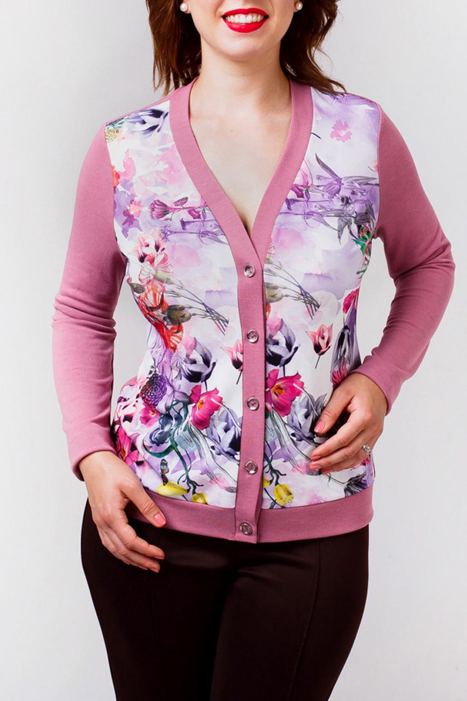 ДжемперДжемперы<br>Джемпер с однотонной спинкой и рукавами и ярким передом с цветочным принтом. Отличный выбор для повседневного гардероба.  В изделии использованы цвета: розовый, сиреневый и др.  Рост девушки-фотомодели 168 см<br><br>Горловина: С- горловина<br>По материалу: Трикотаж<br>По рисунку: Растительные мотивы,С принтом,Цветные,Цветочные<br>По силуэту: Полуприталенные<br>По стилю: Повседневный стиль,Романтический стиль<br>По элементам: С манжетами<br>Рукав: Длинный рукав<br>По сезону: Осень,Весна<br>Размер : 52,56,58,60<br>Материал: Трикотаж<br>Количество в наличии: 7