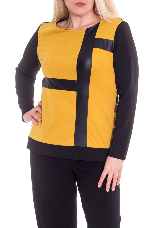 ДжемперДжемперы<br>Универсальный женский джемпер с округлой горловиной и длинными рукавами. Модель станет идеальным дополнением к Вашему повседневному гардеробу.  Цвет: желтый, черный.  Рост девушки-фотомодели 173 см<br><br>Горловина: С- горловина<br>По материалу: Трикотаж<br>По рисунку: Цветные<br>По сезону: Зима,Осень,Весна<br>По силуэту: Полуприталенные,Приталенные<br>По стилю: Повседневный стиль<br>По элементам: С декором,С кожаными вставками<br>Рукав: Длинный рукав<br>Размер : 46-48<br>Материал: Джерси<br>Количество в наличии: 7