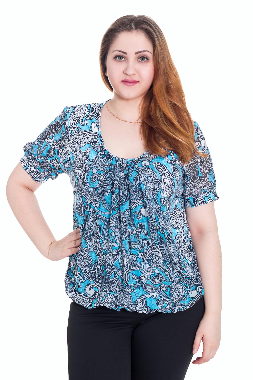 БлузкаБлузки<br>Свободная блузка с короткими рукавами. Модель выполнена из мягкой вискозы. Отличный выбор для повседневного гардероба.  Цвет: синий, голубой  Рост девушки-фотомодели 169 см.<br><br>По образу: Город,Свидание<br>По стилю: Повседневный стиль<br>По материалу: Трикотаж,Вискоза<br>По рисунку: Цветные,Абстракция<br>По сезону: Осень,Весна,Всесезон,Зима,Лето<br>По силуэту: Свободные<br>По элементам: С декором<br>Рукав: Короткий рукав<br>Горловина: С- горловина<br>Размер: 58<br>Материал: 80% вискоза 20% полиэстер<br>Количество в наличии: 1