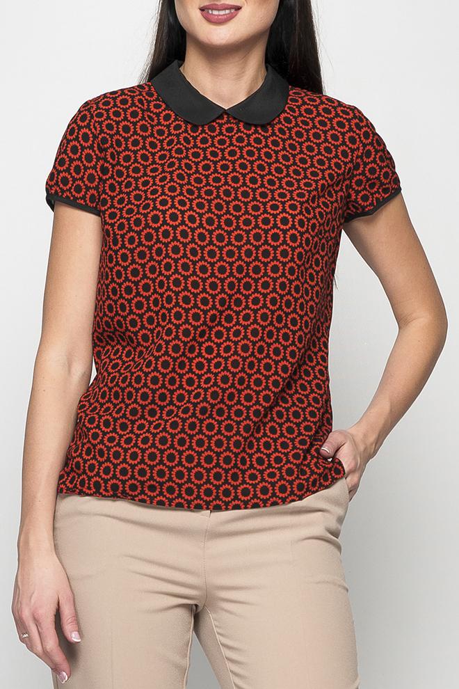 БлузкаБлузки<br>Милая блузка с отложным воротником. Модель  выполнена из приятного материала. Отличный выбор для повседневного гардероба. Блузка без пояса.  Параметры изделия: 44 размер: длина изделия по спинке - 64см, обхват по линии груди - 100см;  54 размер: длина изделия по спинке - 66см, обхват по линии груди - 116см  Цвет: оранжевый, черный  Рост девушки-фотомодели 170 см<br><br>Воротник: Отложной<br>Горловина: С- горловина<br>По материалу: Тканевые<br>По рисунку: С принтом,Цветные<br>По сезону: Весна,Зима,Лето,Осень,Всесезон<br>По силуэту: Полуприталенные<br>По стилю: Повседневный стиль<br>Рукав: Короткий рукав<br>Размер : 42,44,48<br>Материал: Блузочная ткань<br>Количество в наличии: 3