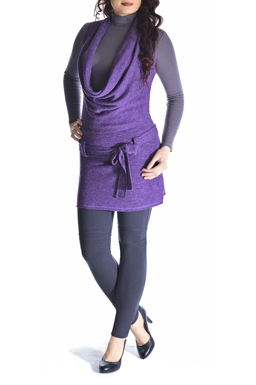 ТуникаТуники<br>Cтильная и практичная туника без рукавов. Воротник «хомут» добавляет тунике пикантности. На линии талии расположены шлевки для пояса из основного полотна. Эта модель туники подойдёт для повседневной носки в холодное время года. Можно сочетать с бадлоном (водолазкой), с легинсами или носить с узкими джинсами. Трикотаж - мягкий и хорошо растягивается. Туника без пояса.  Длина изделия 81-83 см.  Цвет: фиолетовый  Рост девушки-фотомодели 170 см.<br><br>Воротник: Хомут<br>По материалу: Трикотаж<br>По рисунку: Однотонные<br>По сезону: Зима,Осень,Весна<br>По силуэту: Полуприталенные<br>По стилю: Повседневный стиль<br>Рукав: Без рукавов<br>Размер : 44,46,48,50,54<br>Материал: Трикотаж<br>Количество в наличии: 5