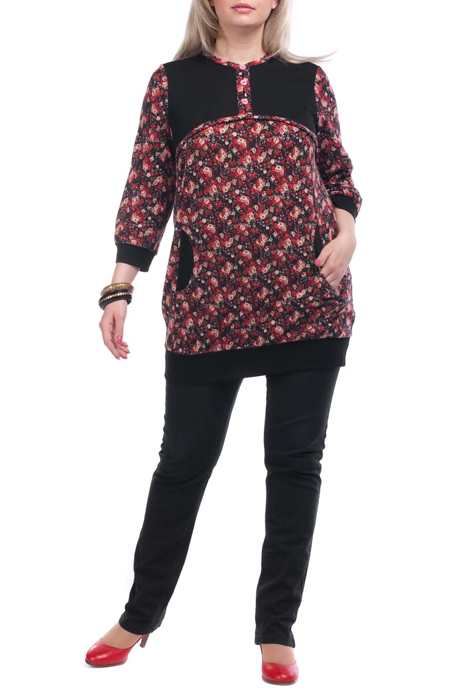 ТуникаТуники<br>Красивая женская туника с круглой горловиной и рукавами 3/4. Модель выполнена из плотного трикотажа. Отличный выбор для повседневного гардероба.  Цвет: черный, красный  Рост девушки-фотомодели 173 см<br><br>Горловина: С- горловина<br>Застежка: С пуговицами<br>По материалу: Вискоза,Трикотаж<br>По рисунку: Растительные мотивы,Цветные,Цветочные<br>По сезону: Весна,Осень<br>По силуэту: Полуприталенные<br>По стилю: Повседневный стиль<br>По элементам: С декором,С карманами<br>Рукав: Рукав три четверти<br>Размер : 52,56,58,60,62,64,66,70<br>Материал: Трикотаж<br>Количество в наличии: 11