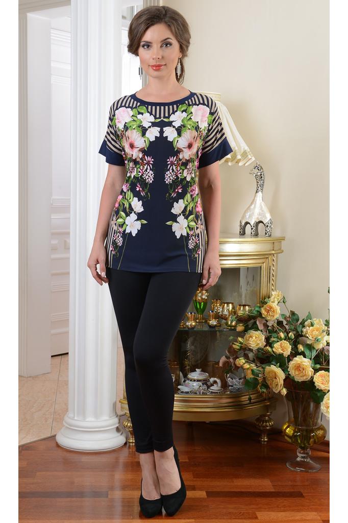 Туника блузка женская sela цвет синий twsl 112 311 8234p размер 48