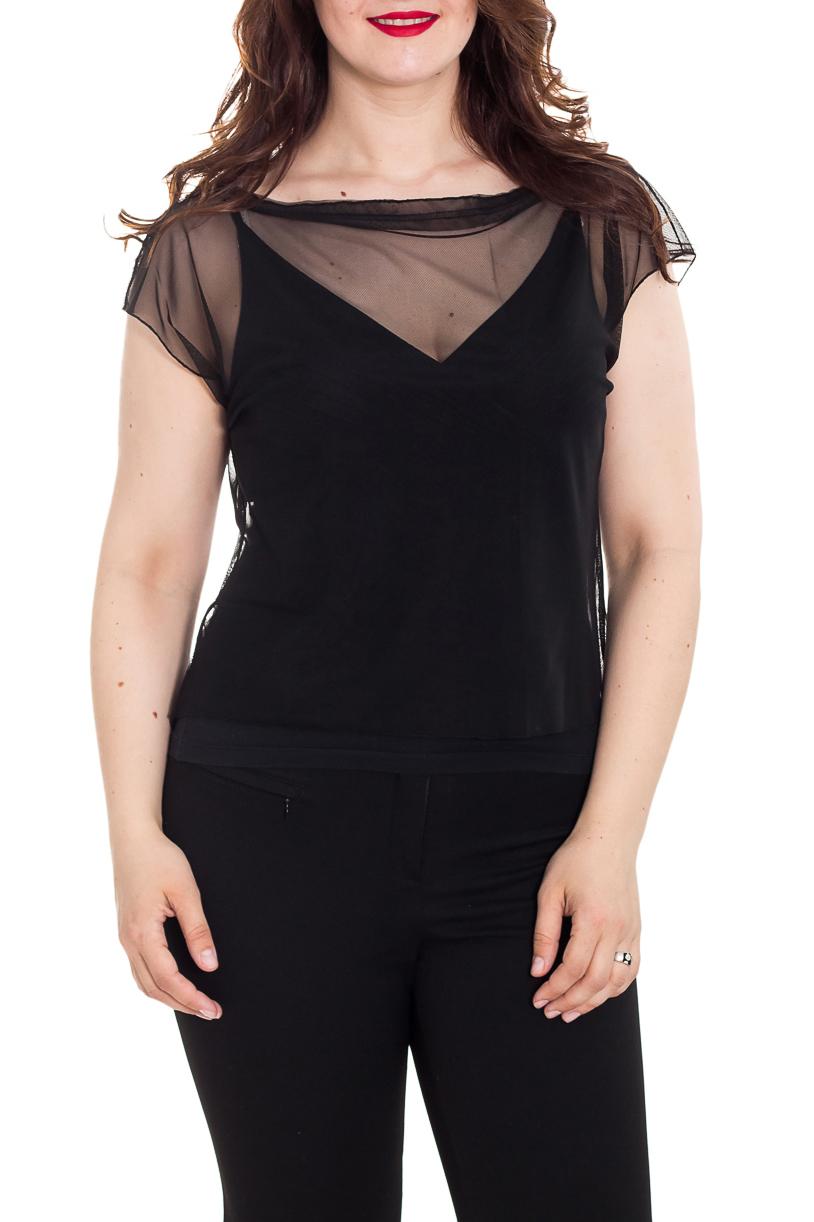 БлузкаБлузки<br>Чувственная блузка с горловиной качель и рукавами до локтя. Модель выполнена из гипюровой сетки. Отличный выбор для создания эффектного образа. Майка подклад в комплект не входит.  Цвет: черный  Рост девушки-фотомодели 180 см<br><br>Горловина: Качель<br>По материалу: Гипюровая сетка<br>По образу: Клуб,Круиз,Свидание<br>По рисунку: Однотонные<br>По сезону: Весна,Зима,Лето,Осень,Всесезон<br>По силуэту: Полуприталенные,Приталенные<br>По стилю: Летний стиль,Романтический стиль<br>Рукав: До локтя<br>Размер : 42-44<br>Материал: Гипюровая сетка<br>Количество в наличии: 2