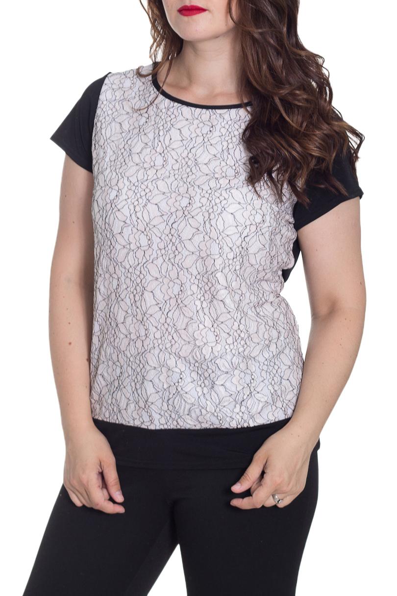 БлузкаБлузки<br>Цветная блузка с круглой горловиной и короткими рукавами. Модель выполнена из приятного материала. Отличный выбор для повседневного гардероба.  Цвет: черный, белый  Рост девушки-фотомодели 170 см<br><br>Горловина: С- горловина<br>По материалу: Гипюр,Трикотаж<br>По рисунку: С принтом,Цветные<br>По сезону: Весна,Зима,Лето,Осень,Всесезон<br>По силуэту: Полуприталенные<br>По стилю: Повседневный стиль<br>Рукав: Короткий рукав<br>Размер : 44-46,48-50<br>Материал: Холодное масло + Гипюр<br>Количество в наличии: 5
